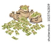 bags of money. packing in... | Shutterstock .eps vector #1025762839