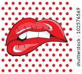 biting her red lips teeth pop...   Shutterstock .eps vector #102576569