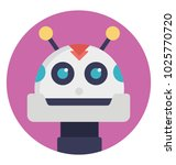 robot face flat icon. cartoon... | Shutterstock .eps vector #1025770720