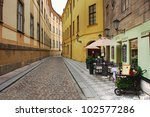 Narrow Street With Small Hotel...
