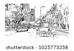 downtown with road and building ... | Shutterstock .eps vector #1025773258