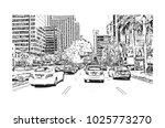 downtown with road and building ... | Shutterstock .eps vector #1025773270