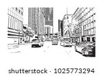 downtown with road and building ... | Shutterstock .eps vector #1025773294