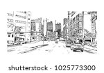 downtown with road and building ... | Shutterstock .eps vector #1025773300