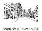 downtown with road and building ... | Shutterstock .eps vector #1025773318