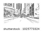 downtown with road and building ... | Shutterstock .eps vector #1025773324