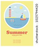 summer holiday concept vector... | Shutterstock .eps vector #1025794420