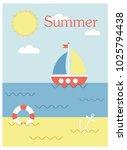 summer holiday concept vector... | Shutterstock .eps vector #1025794438