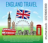 england travel with landmarks... | Shutterstock .eps vector #1025800300