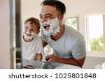 happy father and son having fun ... | Shutterstock . vector #1025801848