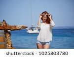 woman with sunglasses of marina ...   Shutterstock . vector #1025803780