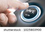 man pushing a start button with ... | Shutterstock . vector #1025803900