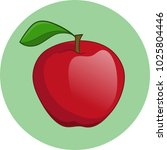 red apple circle sign | Shutterstock .eps vector #1025804446