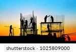 silhouette construction team... | Shutterstock . vector #1025809000