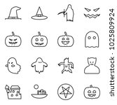 flat vector icon set   witch... | Shutterstock .eps vector #1025809924