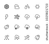 line icon set of wheater symbol.... | Shutterstock .eps vector #1025821723
