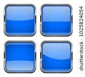 blue square buttons with chrome ... | Shutterstock .eps vector #1025824054