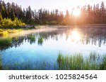 serenity lake in the mountains | Shutterstock . vector #1025824564