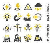 electric icon set | Shutterstock .eps vector #1025840080