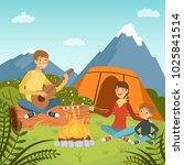 family camping in the wood near ... | Shutterstock . vector #1025841514