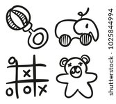 icons hand drawn toys. vector... | Shutterstock .eps vector #1025844994