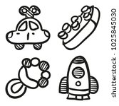 icons hand drawn toys. vector... | Shutterstock .eps vector #1025845030