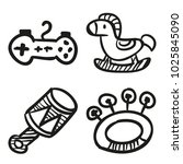 icons hand drawn toys. vector... | Shutterstock .eps vector #1025845090