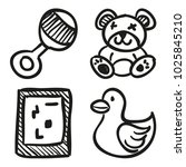 icons hand drawn toys. vector... | Shutterstock .eps vector #1025845210