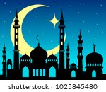 arabic mosque silhouette magic... | Shutterstock .eps vector #1025845480