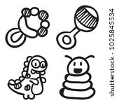 icons hand drawn toys. vector... | Shutterstock .eps vector #1025845534