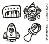 icons hand drawn toys. vector... | Shutterstock .eps vector #1025845690