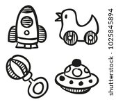 icons hand drawn toys. vector... | Shutterstock .eps vector #1025845894