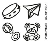 icons hand drawn toys. vector... | Shutterstock .eps vector #1025846014