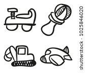 icons hand drawn toys. vector... | Shutterstock .eps vector #1025846020