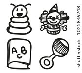 icons hand drawn toys. vector... | Shutterstock .eps vector #1025846248