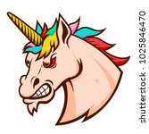 angry unicorn head. design... | Shutterstock .eps vector #1025846470