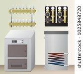 solid fuel boiler in the room.... | Shutterstock .eps vector #1025848720
