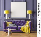 mock up poster in the interior... | Shutterstock . vector #1025857570