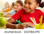 row of pupils looking at... | Shutterstock . vector #102586190