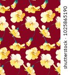 dark red pattern with yellow... | Shutterstock .eps vector #1025865190