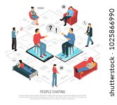 people chatting isometric...   Shutterstock .eps vector #1025866990