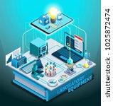 laboratory equipment isometric... | Shutterstock .eps vector #1025872474