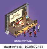 rock festival isometric... | Shutterstock .eps vector #1025872483