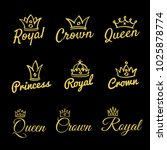 sketch queen crowns and hand... | Shutterstock . vector #1025878774
