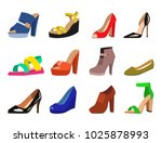 womens shoes vector flat... | Shutterstock .eps vector #1025878993