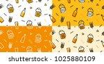 beer seamless pattern memphis... | Shutterstock .eps vector #1025880109