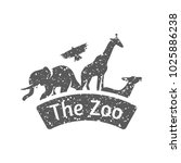 zoo gate icon in grunge texture.... | Shutterstock .eps vector #1025886238