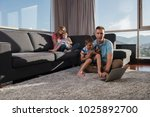 happy family. father  mother... | Shutterstock . vector #1025892700