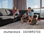 happy family. father  mother... | Shutterstock . vector #1025892733