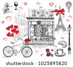 set of hand drawn french icons  ... | Shutterstock .eps vector #1025895820